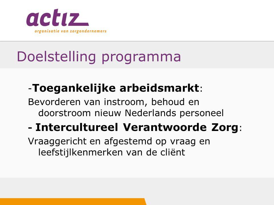 Doelstelling programma - Toegankelijke arbeidsmarkt : Bevorderen van instroom, behoud en doorstroom nieuw Nederlands personeel - Intercultureel Verant