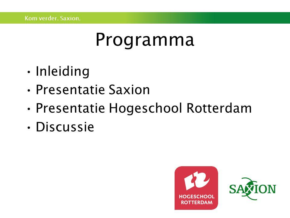 Kom verder. Saxion. Programma Inleiding Presentatie Saxion Presentatie Hogeschool Rotterdam Discussie