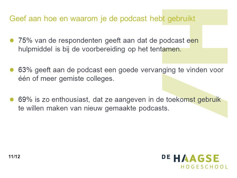 Geef aan hoe en waarom je de podcast hebt gebruikt 75% van de respondenten geeft aan dat de podcast een hulpmiddel is bij de voorbereiding op het tentamen.