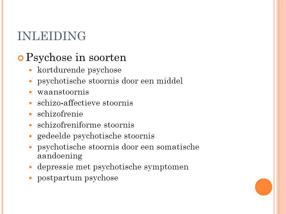 INLEIDING Psychose in soorten kortdurende psychose psychotische stoornis door een middel waanstoornis schizo-affectieve stoornis schizofrenie schizofr