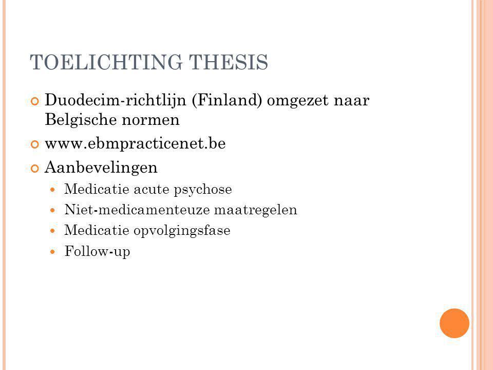TOELICHTING THESIS Duodecim-richtlijn (Finland) omgezet naar Belgische normen www.ebmpracticenet.be Aanbevelingen Medicatie acute psychose Niet-medica