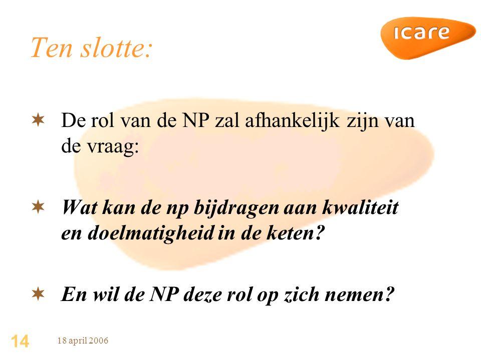 14 18 april 2006 Ten slotte:  De rol van de NP zal afhankelijk zijn van de vraag:  Wat kan de np bijdragen aan kwaliteit en doelmatigheid in de keten.