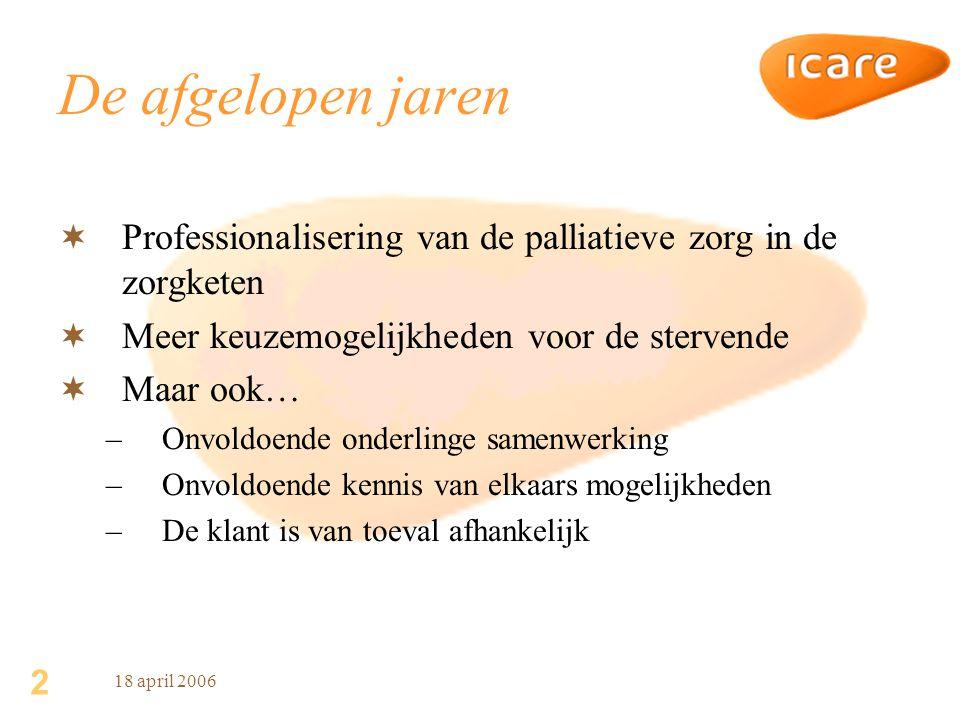 3 18 april 2006 Nu (voorbeeld Drenthe)  Tot standgekomen palliatieve netwerken