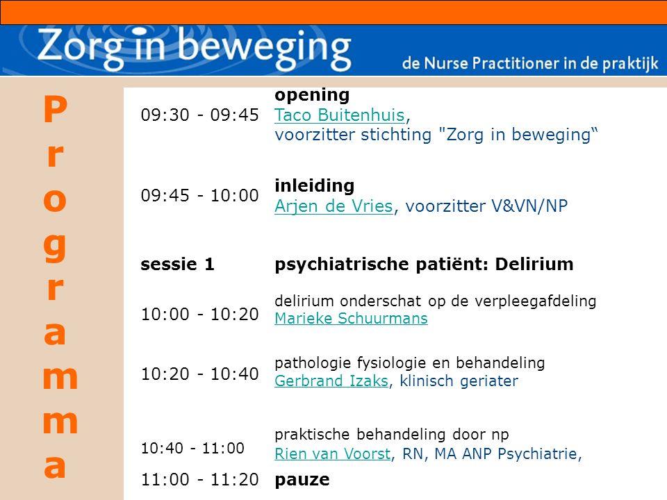 ProgrammaProgramma 09:30 - 09:45 09:45 - 10:00 opening Taco BuitenhuisTaco Buitenhuis, voorzitter stichting Zorg in beweging inleiding Arjen de VriesArjen de Vries, voorzitter V&VN/NP sessie 1 10:00 - 10:20 10:20 - 10:40 10:40 - 11:00 psychiatrische patiënt: Delirium delirium onderschat op de verpleegafdeling Marieke Schuurmans pathologie fysiologie en behandeling Gerbrand Izaks, klinisch geriater Gerbrand Izaks praktische behandeling door np Rien van VoorstRien van Voorst, RN, MA ANP Psychiatrie, 11:00 - 11:20pauze