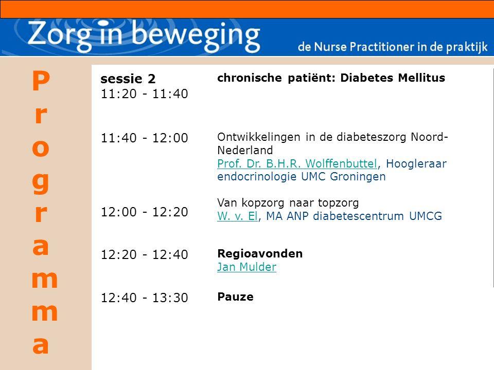 ProgrammaProgramma sessie 2 11:20 - 11:40 11:40 - 12:00 12:00 - 12:20 chronische patiënt: Diabetes Mellitus Ontwikkelingen in de diabeteszorg Noord- Nederland Prof.