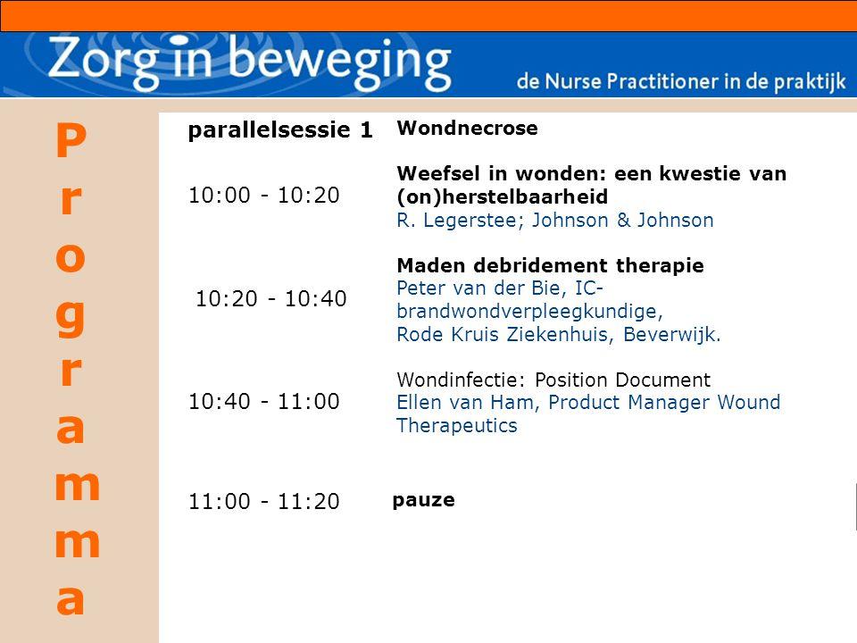 ProgrammaProgramma parallelsessie 1 10:00 - 10:20 10:20 - 10:40 10:40 - 11:00 Wondnecrose Weefsel in wonden: een kwestie van (on)herstelbaarheid R. Le