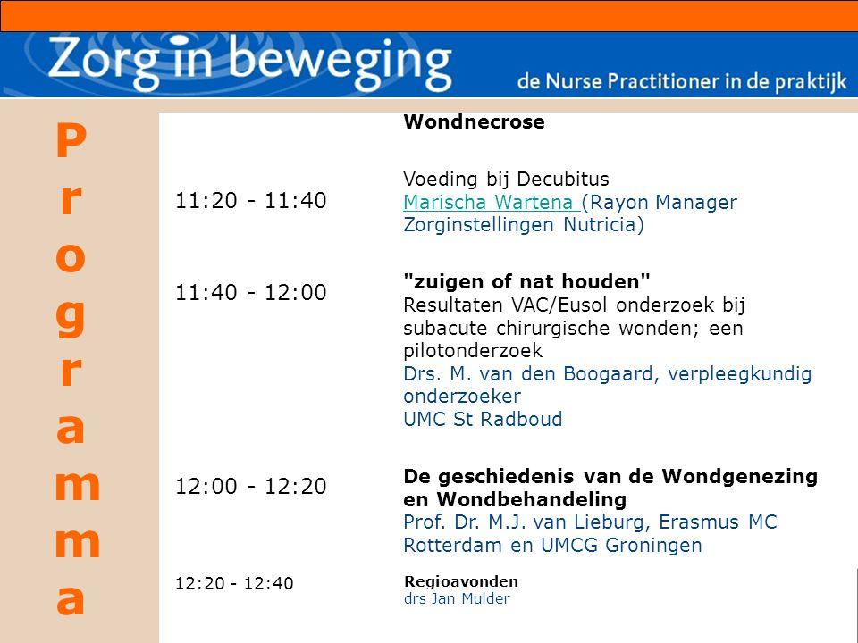 ProgrammaProgramma 11:20 - 11:40 11:40 - 12:00 12:00 - 12:20 Wondnecrose Voeding bij Decubitus Marischa Wartena (Rayon Manager Zorginstellingen Nutric