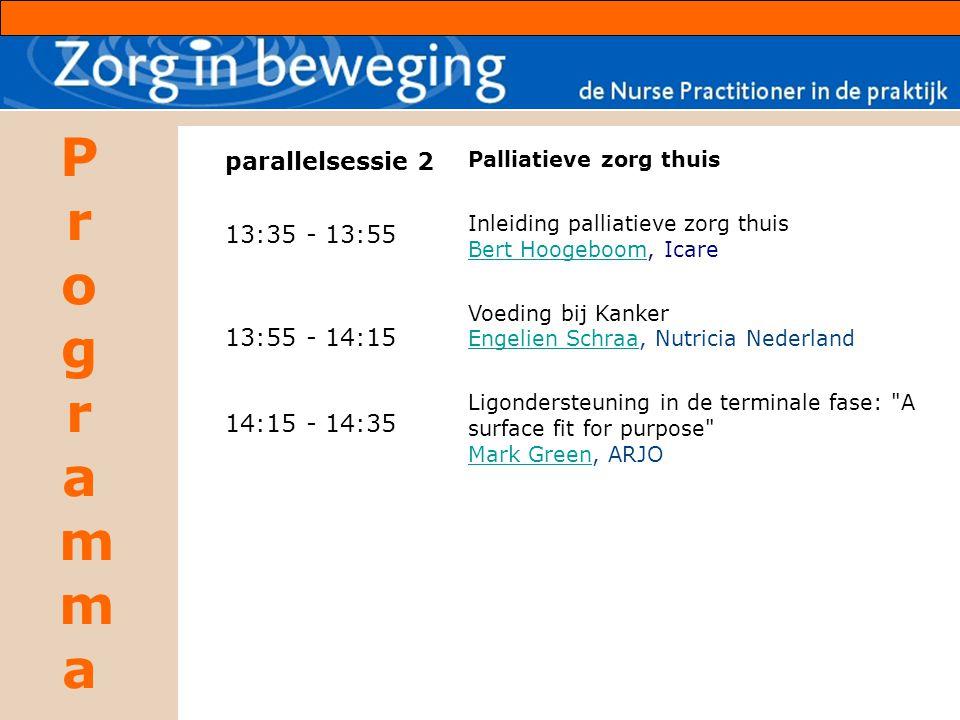 ProgrammaProgramma parallelsessie 2 13:35 - 13:55 13:55 - 14:15 14:15 - 14:35 Palliatieve zorg thuis Inleiding palliatieve zorg thuis Bert HoogeboomBe