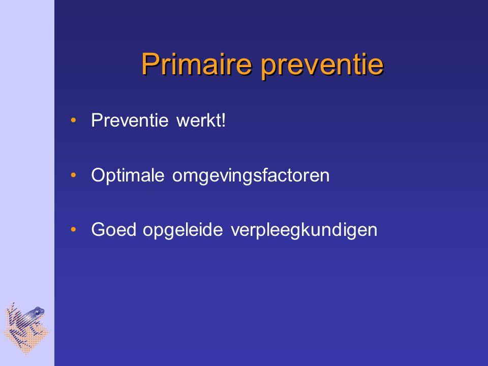 Primaire preventie Preventie werkt! Optimale omgevingsfactoren Goed opgeleide verpleegkundigen