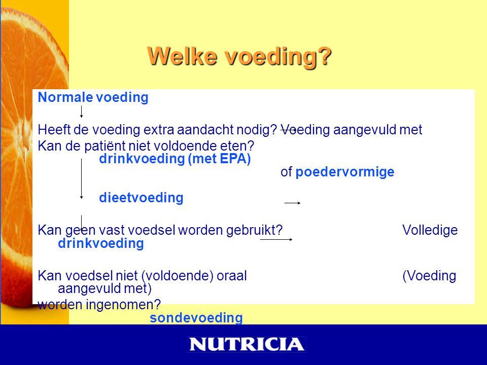 Welke voeding? Normale voeding Heeft de voeding extra aandacht nodig?Voeding aangevuld met Kan de patiënt niet voldoende eten? drinkvoeding (met EPA)
