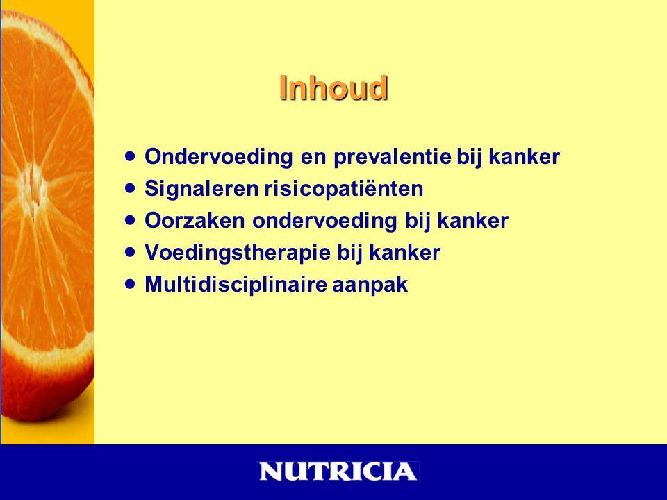 Ondervoeding, waar en hoevaak kom het voor in NL (2005) Aantal ptOndervoeding (%) Academisch Ziekenhuis1.96028,8 Algemeen Ziekenhuis 12.16224,3 Verpleeghuis 12.04917,3 Verzorgingshuis3.54012,9 Thuiszorg6.05220,3 Revalidatiecentra 5514,5 Inst verst.