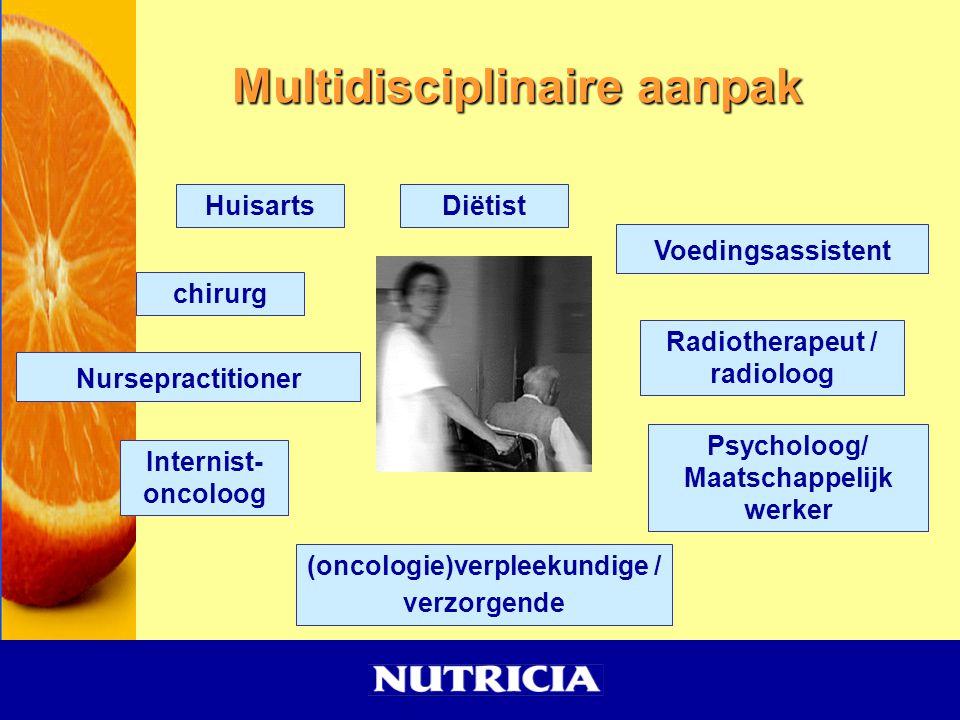 Multidisciplinaire aanpak Radiotherapeut / radioloog Voedingsassistent Diëtist Nursepractitioner (oncologie)verpleekundige / verzorgende chirurg Psych