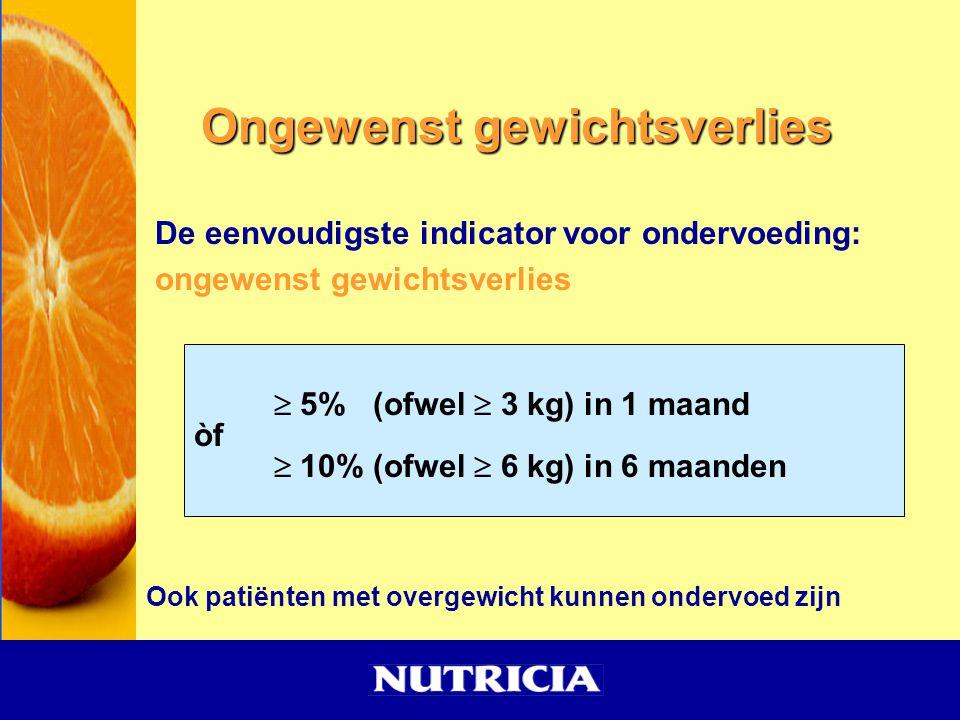Ongewenst gewichtsverlies De eenvoudigste indicator voor ondervoeding: ongewenst gewichtsverlies Ook patiënten met overgewicht kunnen ondervoed zijn 