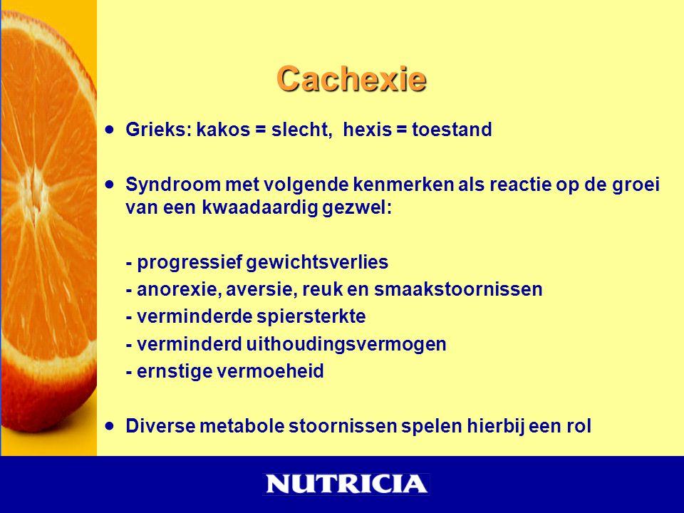Cachexie  Grieks: kakos = slecht, hexis = toestand  Syndroom met volgende kenmerken als reactie op de groei van een kwaadaardig gezwel: - progressie