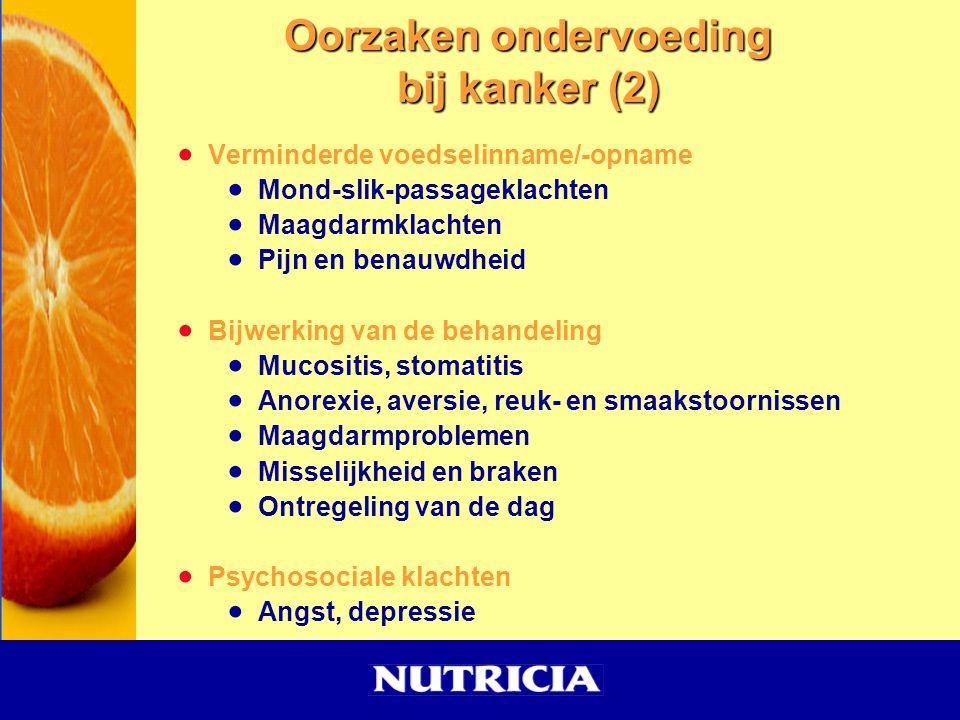  Verminderde voedselinname/-opname  Mond-slik-passageklachten  Maagdarmklachten  Pijn en benauwdheid  Bijwerking van de behandeling  Mucositis,