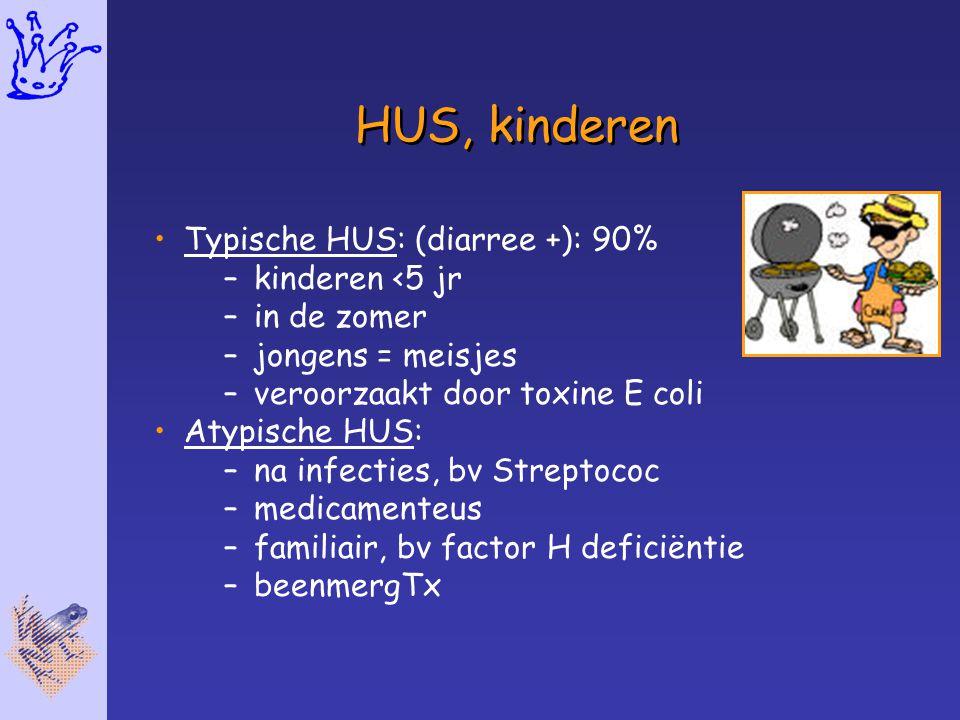 HUS, kinderen Typische HUS: (diarree +): 90% –kinderen <5 jr –in de zomer –jongens = meisjes –veroorzaakt door toxine E coli Atypische HUS: –na infect