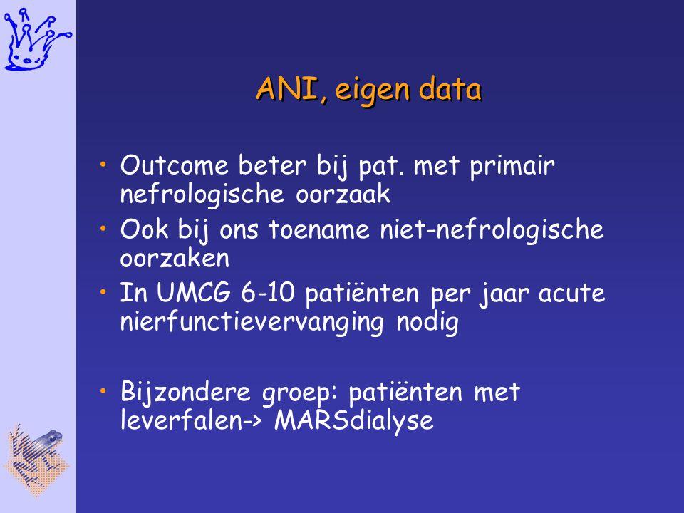 ANI, eigen data Outcome beter bij pat. met primair nefrologische oorzaak Ook bij ons toename niet-nefrologische oorzaken In UMCG 6-10 patiënten per ja