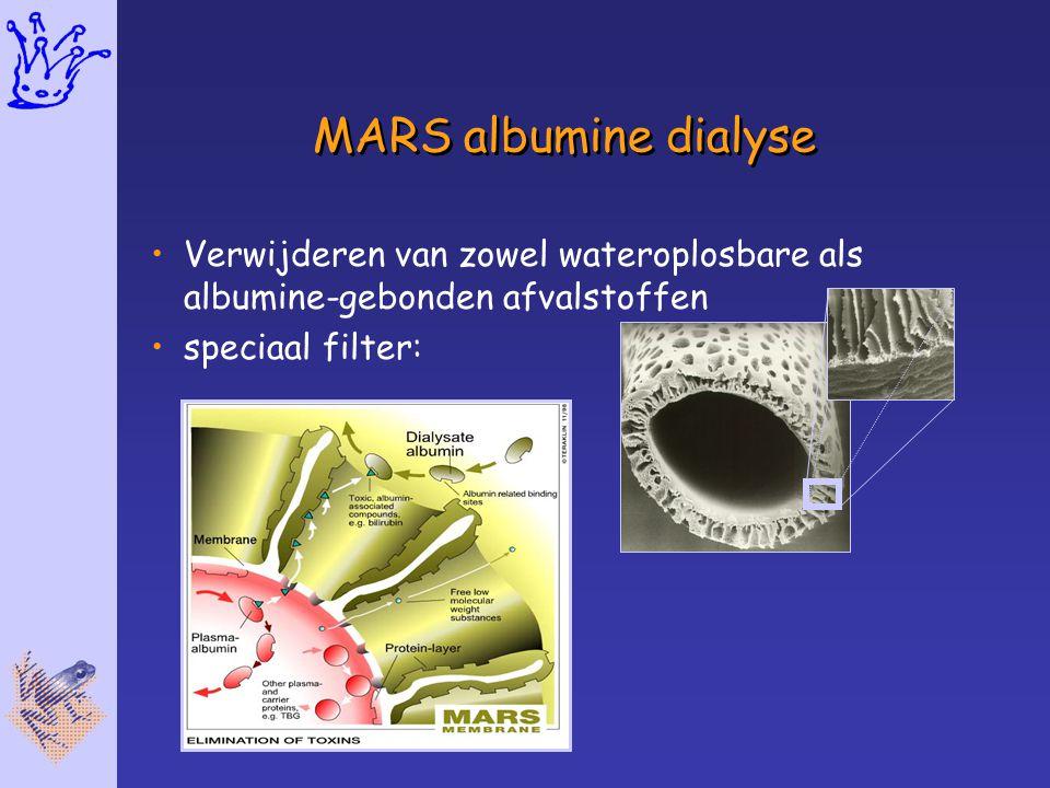 MARS albumine dialyse Verwijderen van zowel wateroplosbare als albumine-gebonden afvalstoffen speciaal filter: