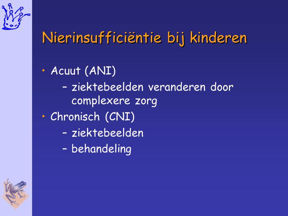 Nierinsufficiëntie bij kinderen Acuut (ANI) –ziektebeelden veranderen door complexere zorg Chronisch (CNI) –ziektebeelden –behandeling