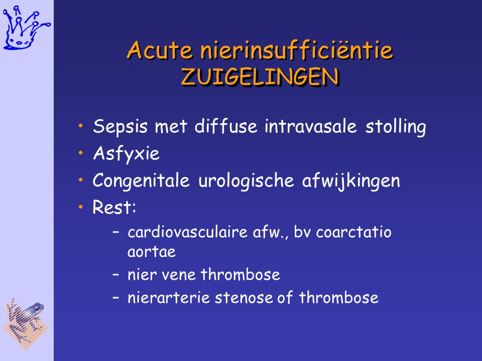 ZUIGELINGEN Acute nierinsufficiëntie ZUIGELINGEN Sepsis met diffuse intravasale stolling Asfyxie Congenitale urologische afwijkingen Rest: –cardiovasc