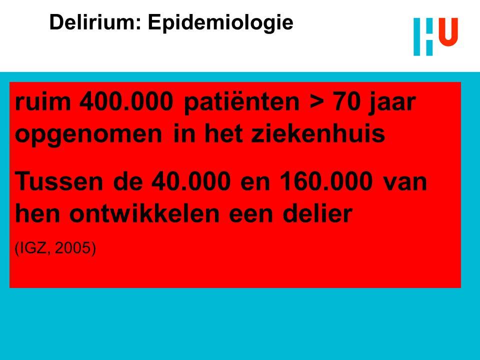 Delirium: Epidemiologie Interne patiënten:  Prevalentie (aanwezig bij opname)  10% - 30%  Incidentie (ontstaan tijdens opname)  4% - 53%  Chirurg