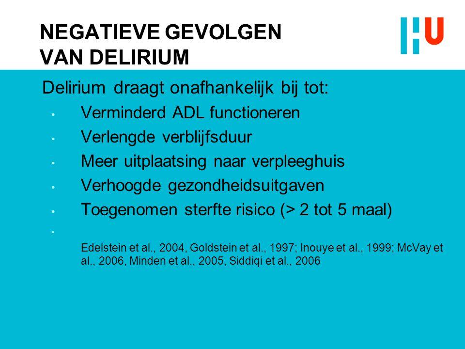 NEGATIEVE GEVOLGEN VAN DELIRIUM Delirium draagt onafhankelijk bij tot: Verminderd ADL functioneren Verlengde verblijfsduur Meer uitplaatsing naar verp