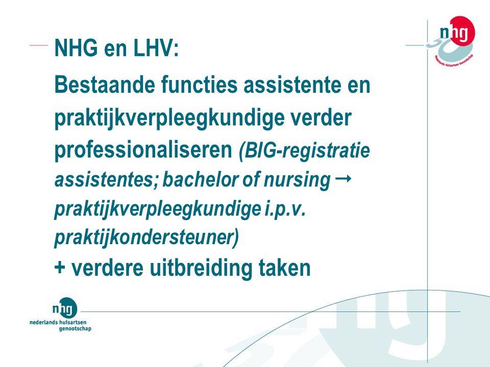 NHG en LHV: Bestaande functies assistente en praktijkverpleegkundige verder professionaliseren (BIG-registratie assistentes; bachelor of nursing  praktijkverpleegkundige i.p.v.