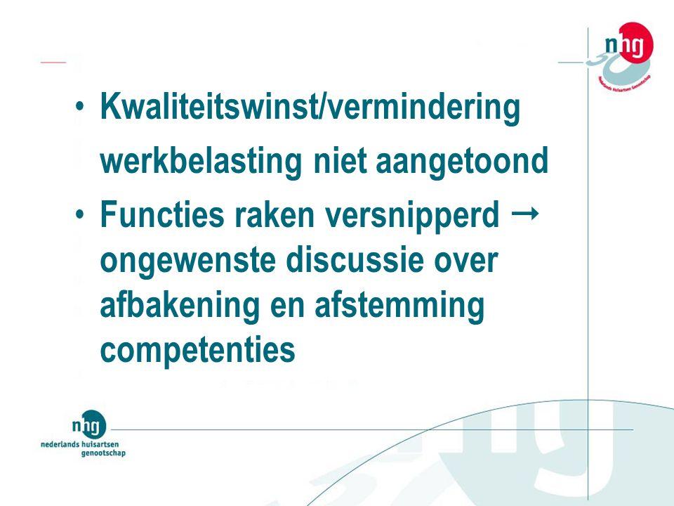 Kwaliteitswinst/vermindering werkbelasting niet aangetoond Functies raken versnipperd  ongewenste discussie over afbakening en afstemming competenties