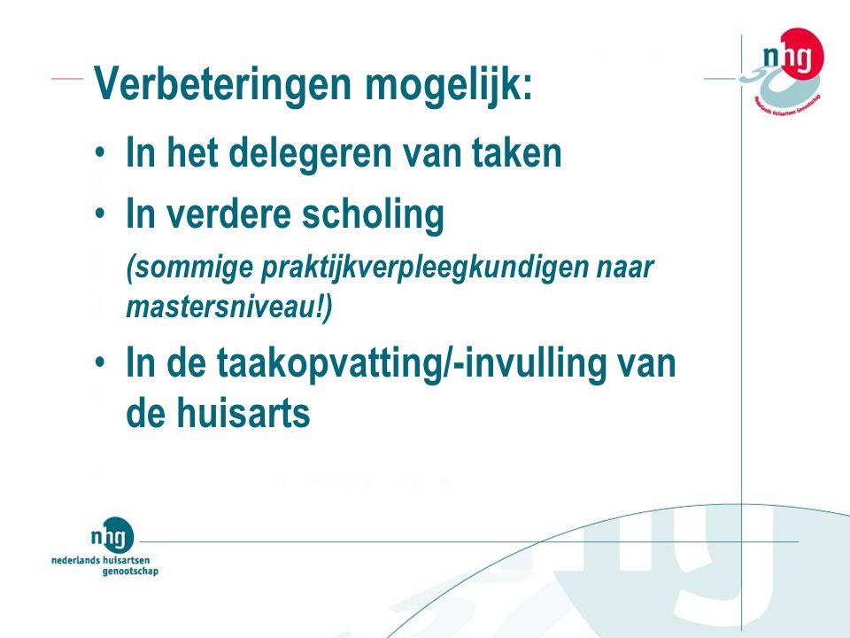 Verbeteringen mogelijk: In het delegeren van taken In verdere scholing (sommige praktijkverpleegkundigen naar mastersniveau!) In de taakopvatting/-invulling van de huisarts