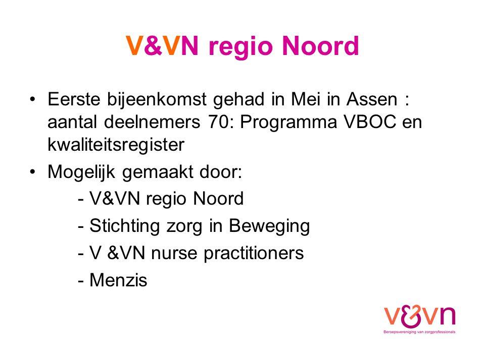 V&VN regio Noord Eerste bijeenkomst gehad in Mei in Assen : aantal deelnemers 70: Programma VBOC en kwaliteitsregister Mogelijk gemaakt door: - V&VN regio Noord - Stichting zorg in Beweging - V &VN nurse practitioners - Menzis