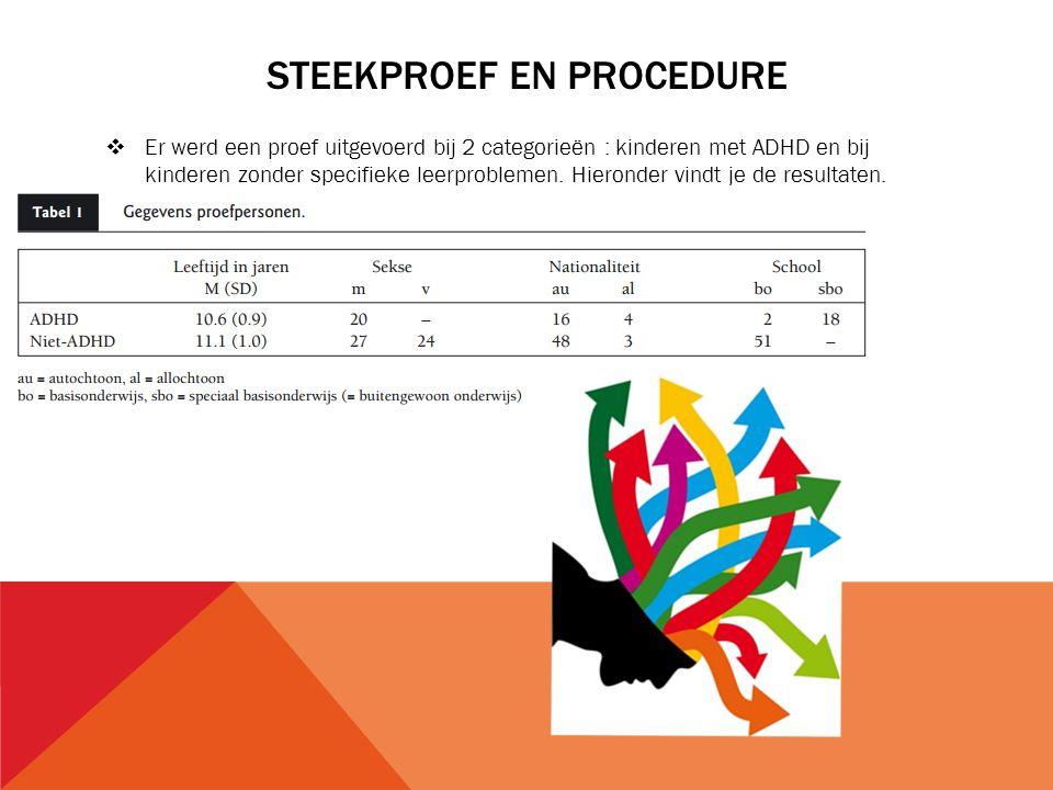 STEEKPROEF EN PROCEDURE  Er werd een proef uitgevoerd bij 2 categorieën : kinderen met ADHD en bij kinderen zonder specifieke leerproblemen. Hieronde