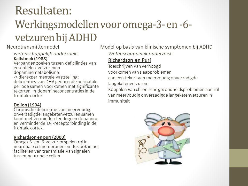 Resultaten: Werkingsmodellen voor omega-3- en -6- vetzuren bij ADHD Neurotransmittermodel wetenschappelijk onderzoek: Kallsbeek (1988) Verbanden zoeke