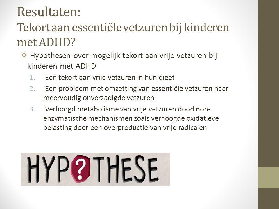 Resultaten: Tekort aan essentiële vetzuren bij kinderen met ADHD?  Hypothesen over mogelijk tekort aan vrije vetzuren bij kinderen met ADHD 1. Een te