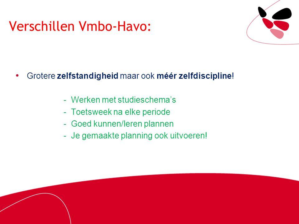 Verschillen Vmbo-Havo: Grotere zelfstandigheid maar ook méér zelfdiscipline! - Werken met studieschema's - Toetsweek na elke periode - Goed kunnen/ler