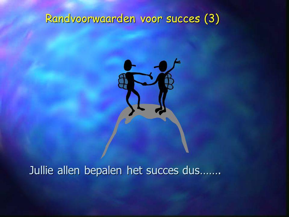 Jullie allen bepalen het succes dus……. Randvoorwaarden voor succes (3)