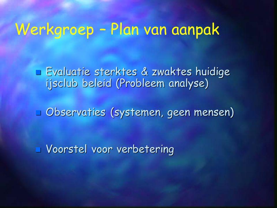 n Evaluatie sterktes & zwaktes huidige ijsclub beleid (Probleem analyse) Werkgroep – Plan van aanpak n Observaties (systemen, geen mensen) n Voorstel