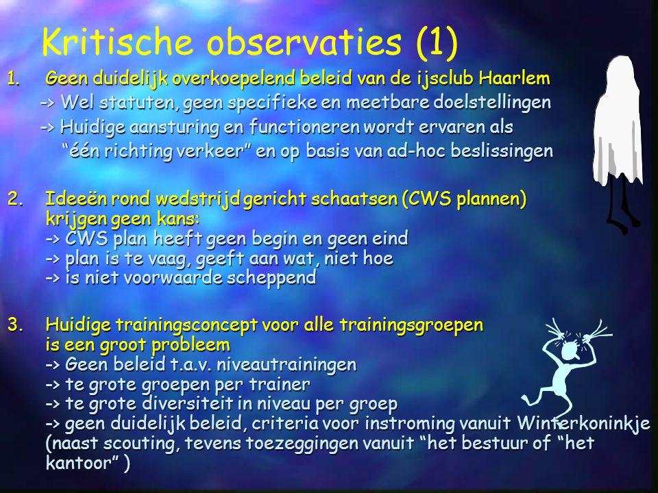 1.Geen duidelijk overkoepelend beleid van de ijsclub Haarlem -> Wel statuten, geen specifieke en meetbare doelstellingen -> Huidige aansturing en func