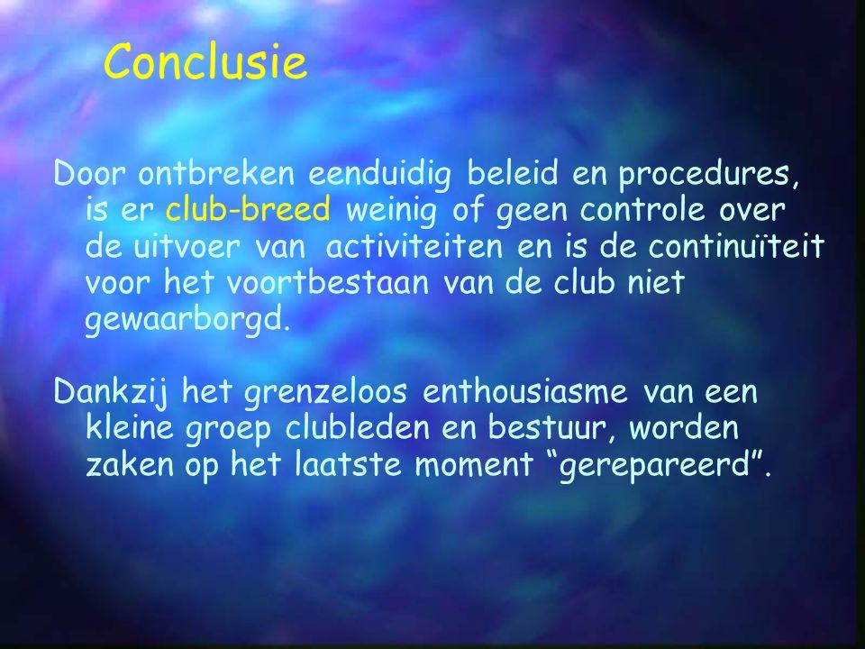 Conclusie Door ontbreken eenduidig beleid en procedures, is er club-breed weinig of geen controle over de uitvoer van activiteiten en is de continuïte