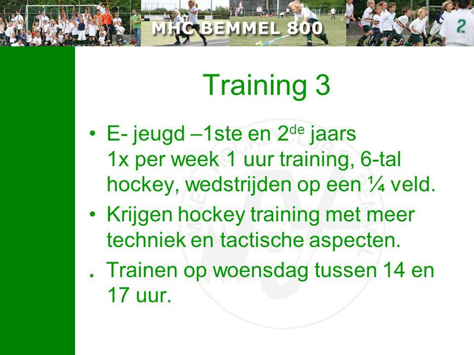 Training 3 E- jeugd –1ste en 2 de jaars 1x per week 1 uur training, 6-tal hockey, wedstrijden op een ¼ veld.
