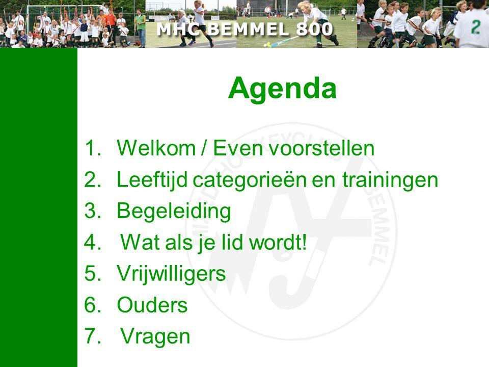 Agenda 1.Welkom / Even voorstellen 2.Leeftijd categorieën en trainingen 3.Begeleiding 4. Wat als je lid wordt! 5.Vrijwilligers 6.Ouders 7. Vragen