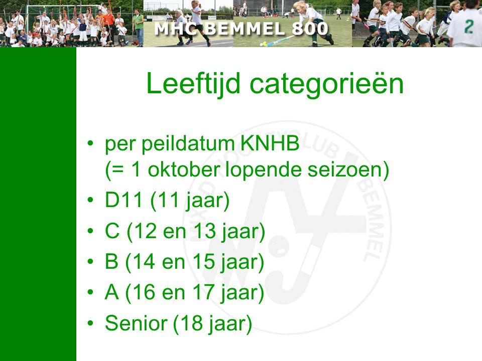 Leeftijd categorieën per peildatum KNHB (= 1 oktober lopende seizoen) D11 (11 jaar) C (12 en 13 jaar) B (14 en 15 jaar) A (16 en 17 jaar) Senior (18 j