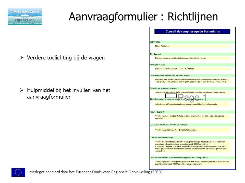 Aanvraagformulier : Richtlijnen Medegefinancierd door het Europees Fonds voor Regionale Ontwikkeling (EFRO)  Verdere toelichting bij de vragen  Hulpmiddel bij het invullen van het aanvraagformulier