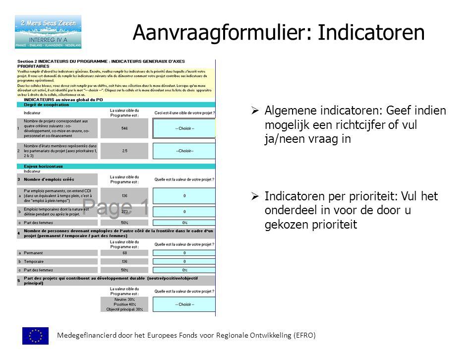 Aanvraagformulier: Indicatoren Medegefinancierd door het Europees Fonds voor Regionale Ontwikkeling (EFRO)  Algemene indicatoren: Geef indien mogelijk een richtcijfer of vul ja/neen vraag in  Indicatoren per prioriteit: Vul het onderdeel in voor de door u gekozen prioriteit