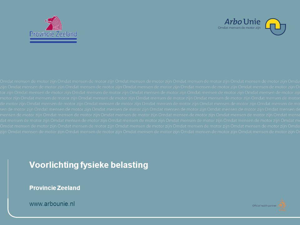 www.arbounie.nl Training Fysieke Belasting Andy Louwe Kooijmans, Ergonoom