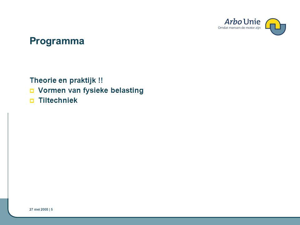 27 mei 2008 | 5 Programma Theorie en praktijk !!  Vormen van fysieke belasting  Tiltechniek
