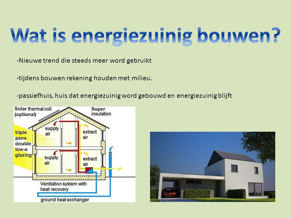 -Nieuwe trend die steeds meer word gebruikt -tijdens bouwen rekening houden met milieu. -passiefhuis, huis dat energiezuinig word gebouwd en energiezu