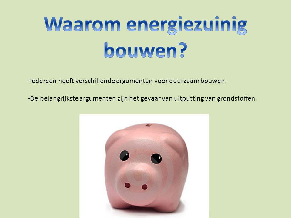 -Een energiezuinig huis is een huis die zo energie besparend mogelijk gemaakt is.