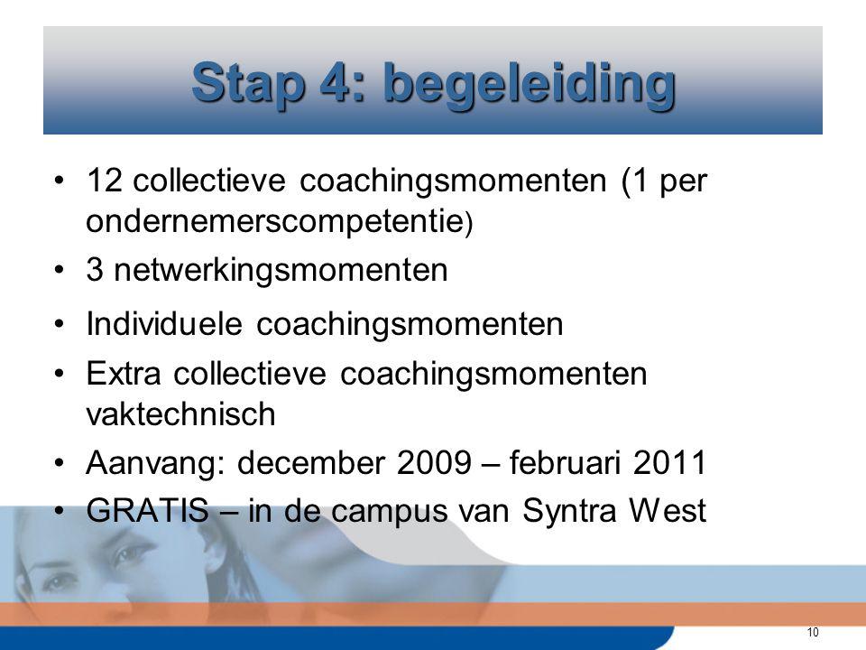 10 12 collectieve coachingsmomenten (1 per ondernemerscompetentie ) 3 netwerkingsmomenten Individuele coachingsmomenten Extra collectieve coachingsmomenten vaktechnisch Aanvang: december 2009 – februari 2011 GRATIS – in de campus van Syntra West Stap 4: begeleiding