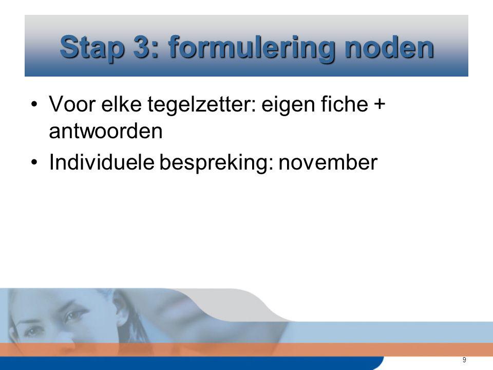 9 Voor elke tegelzetter: eigen fiche + antwoorden Individuele bespreking: november Stap 3: formulering noden