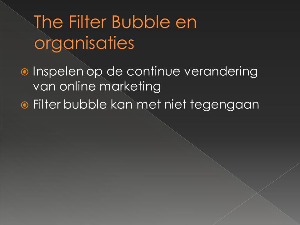  Inspelen op de continue verandering van online marketing  Filter bubble kan met niet tegengaan